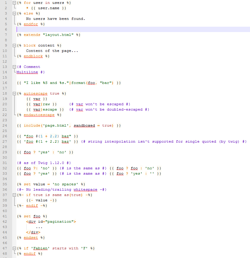 Screenshot of the highlighting my Notepad++ Twig highlighter does.