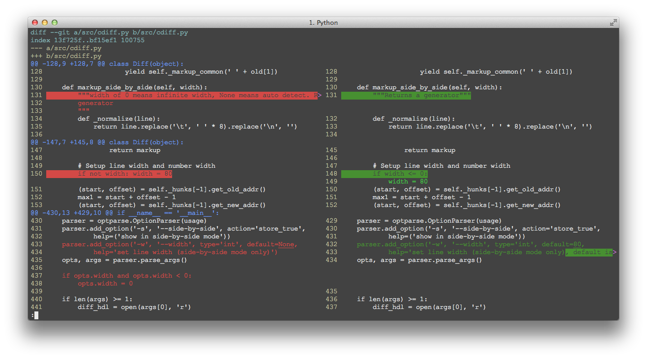 GitHub - ymattw/ydiff: View colored, incremental diff in