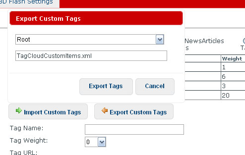 Custom Tags Export Dialog