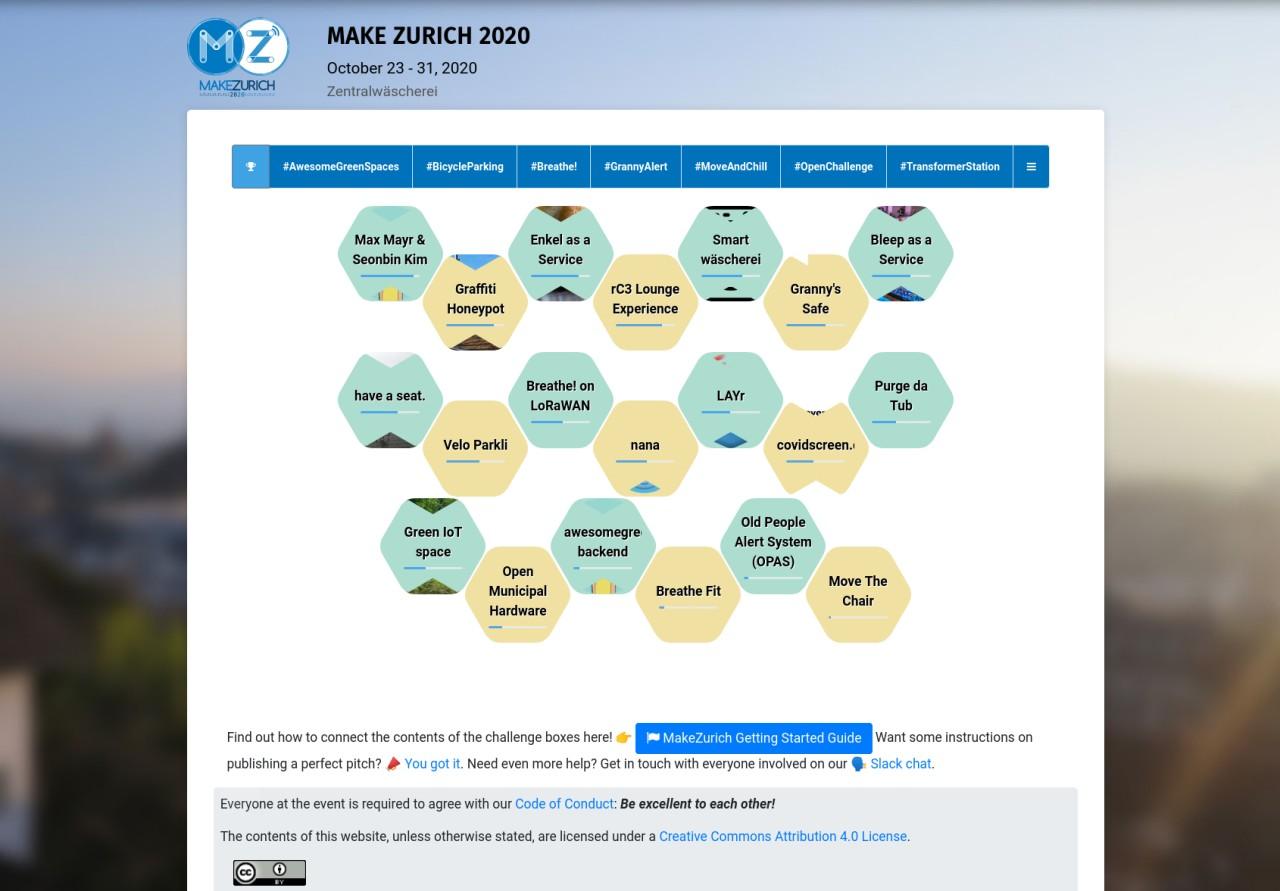 Screenshot of MakeZurich 2020