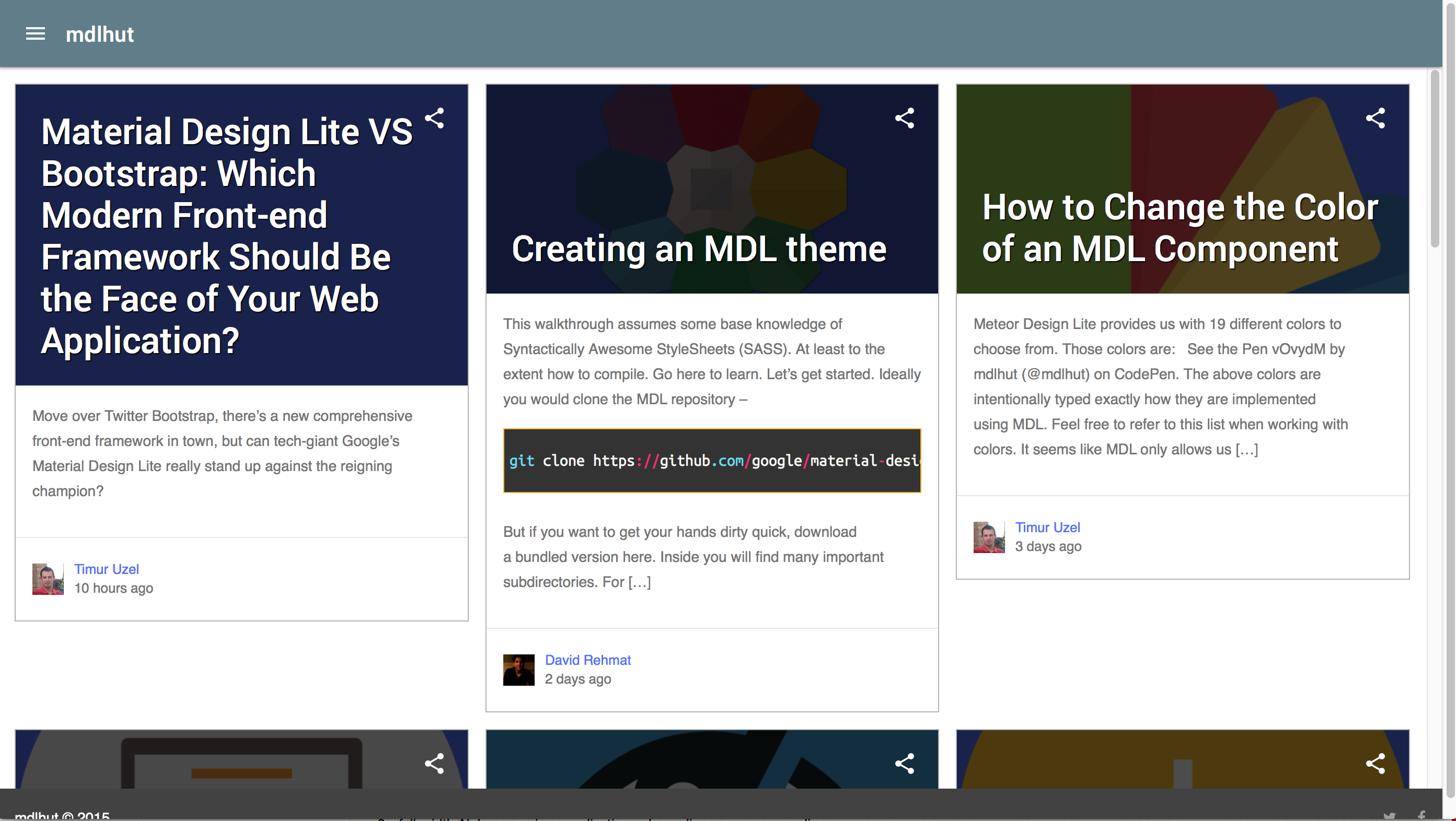 Community Showcase Google Material Design Lite Wiki Github