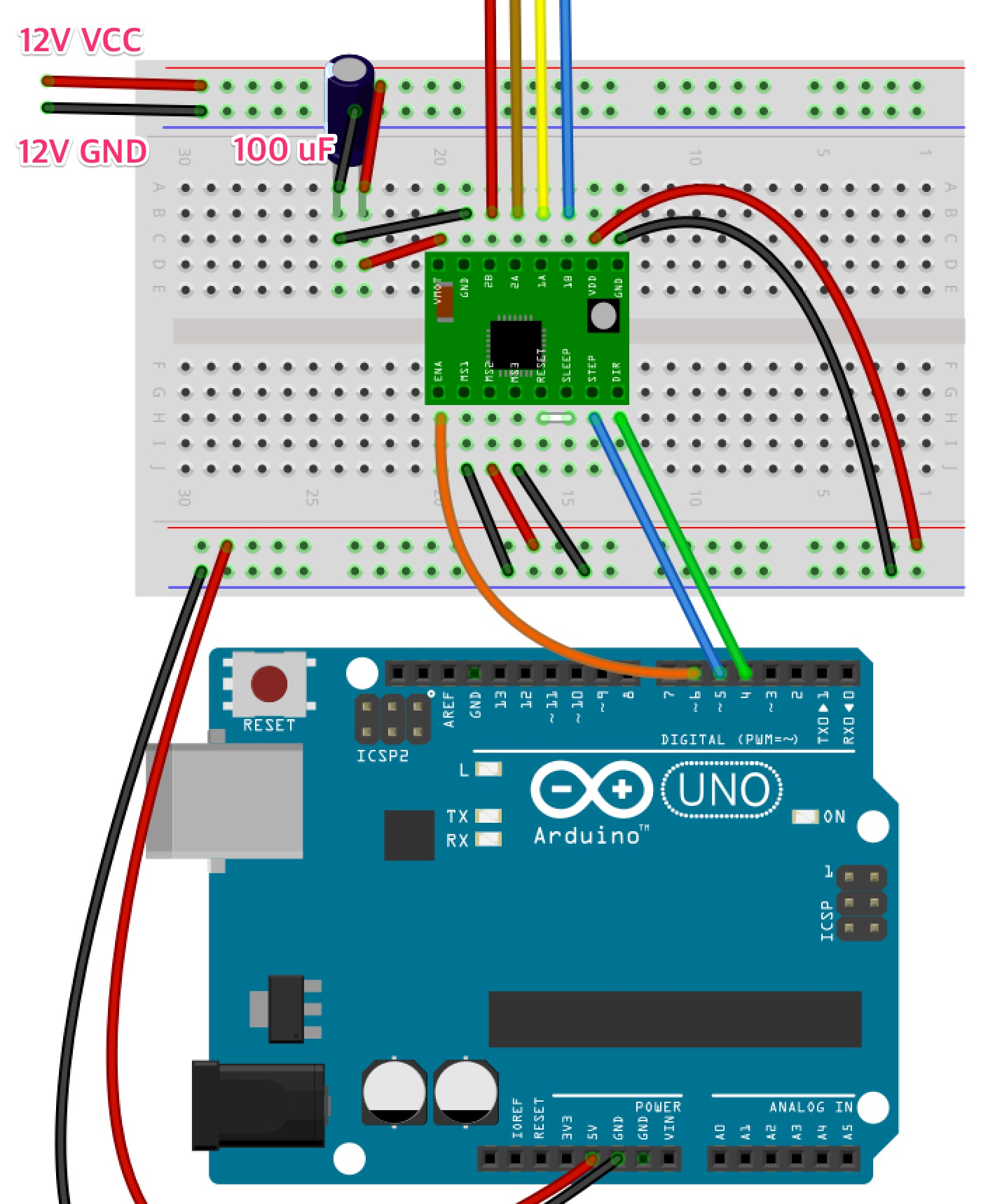 Fritzing Project – Control KP39EM2-006 Stepper Motor by Arduino
