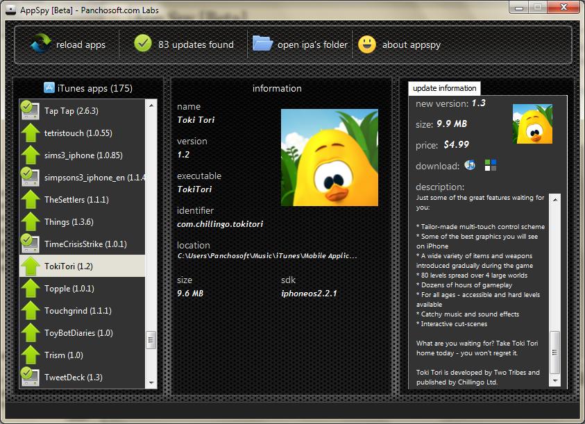 AppSpy running on Windows 7