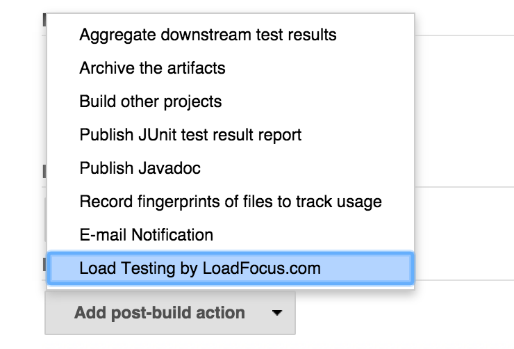 Load Testing Add Post Build Action