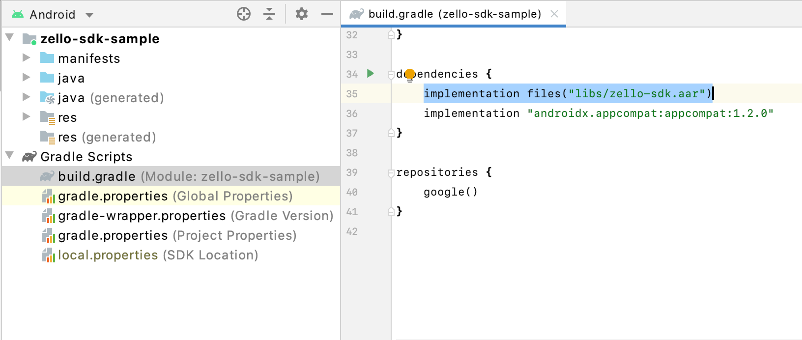 Adding as a library in Android Studio