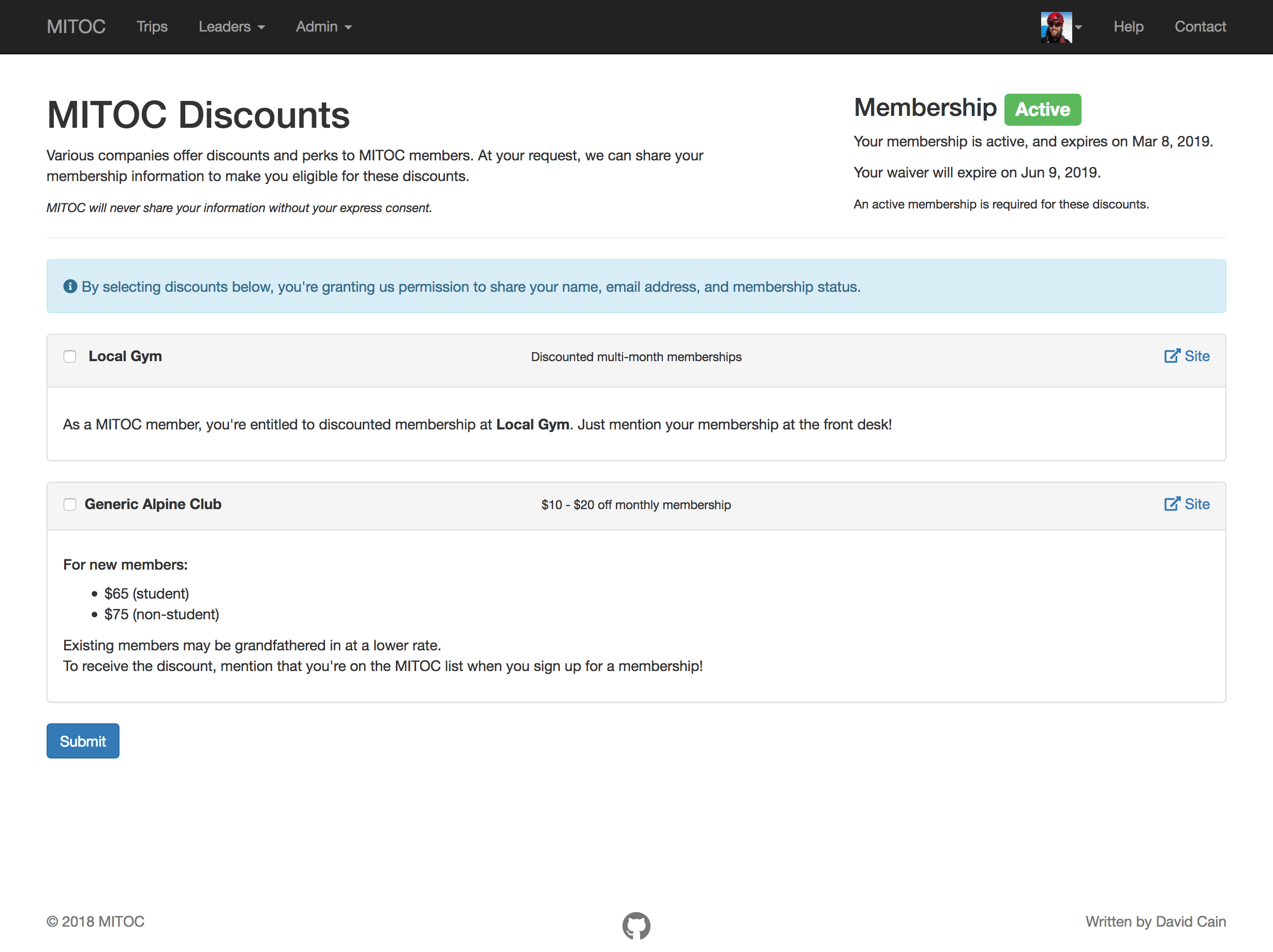 MITOC members can receive discounts