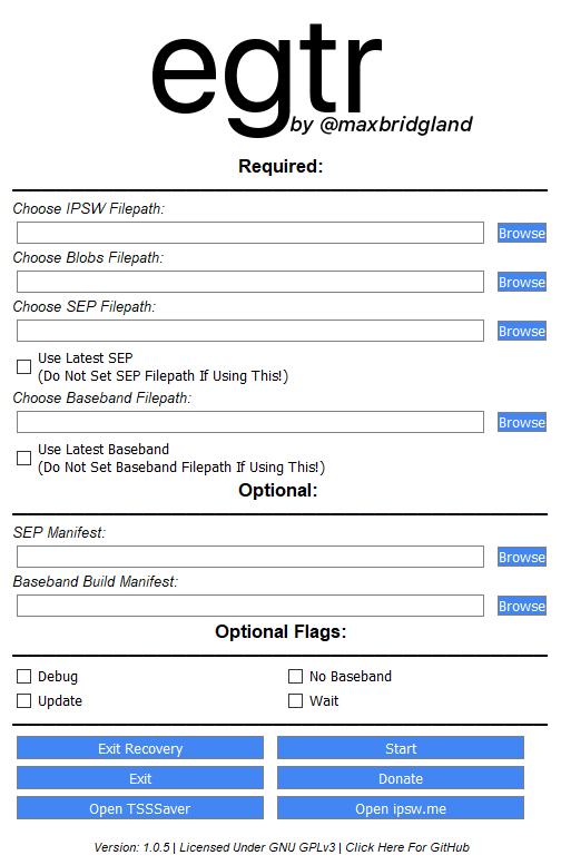GitHub - M4cs/EGTR-FutureRestore: Cross-Platform GUI For