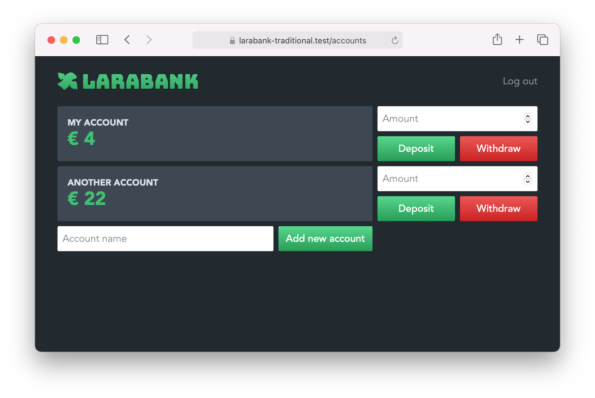 Larabank accounts page