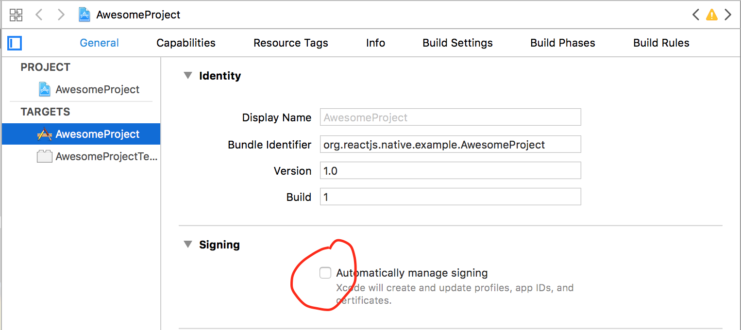 Disable automatic signing
