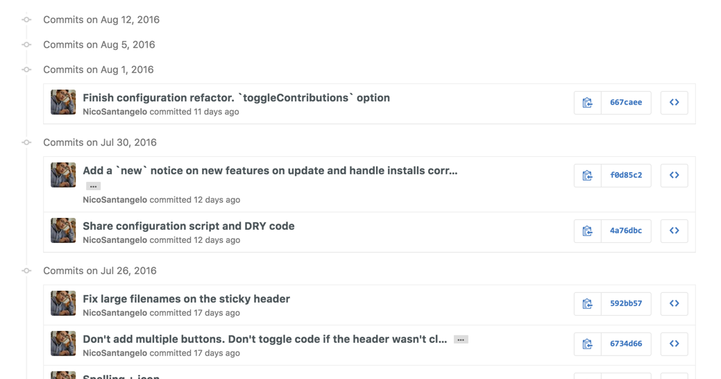 Collapsable commits