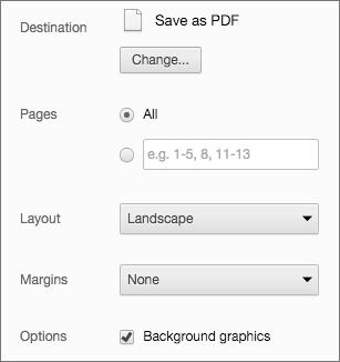 Chrome Print Settings