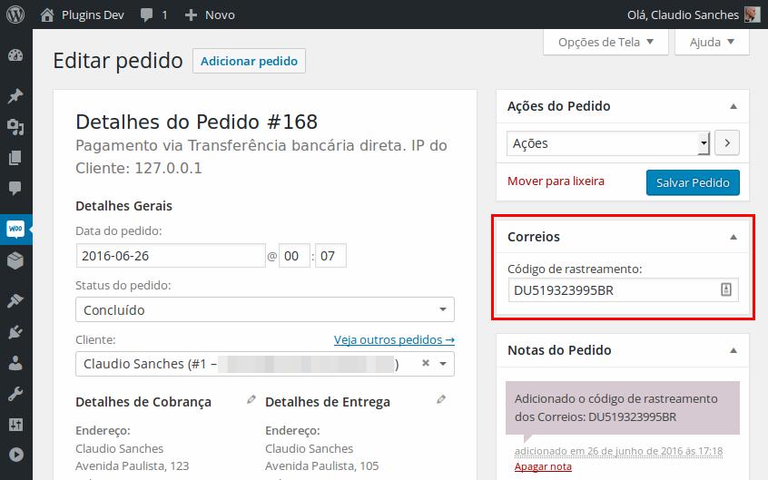 4. Campo para adicionar o código de rastreamento (aparece na tela de gerenciamento do pedido).