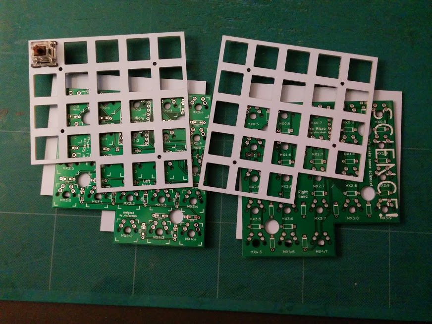 PCBs in white and green