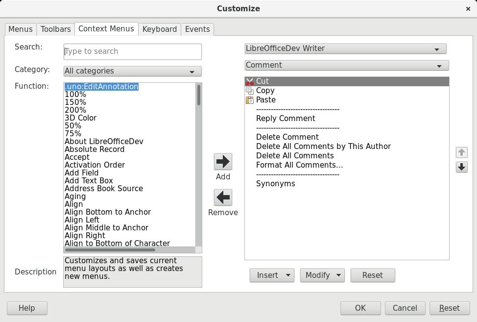 Context Menu tab of the new Customize dialog
