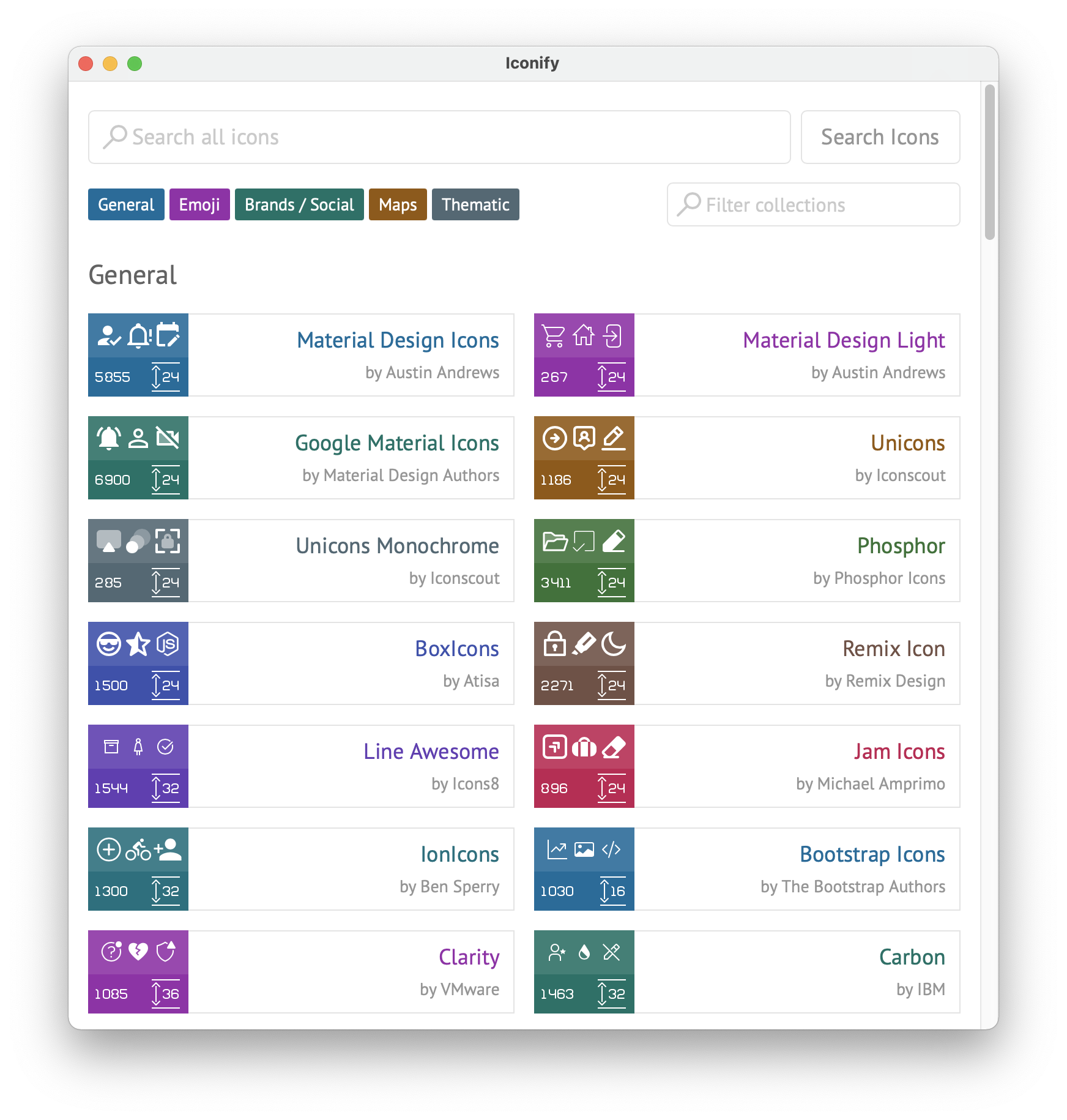 Iconify for Sketch: browse collections