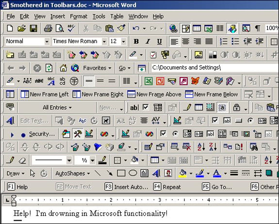 Screenshot of Microsoft Word with tens of toolbars activated