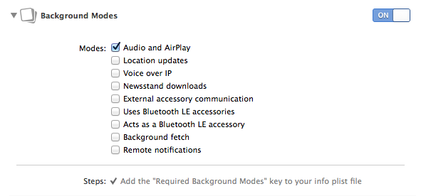 Enabling background audio in Xcode