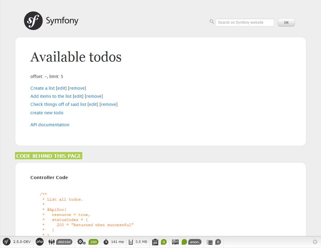 Symfony2 Backend Screenshot
