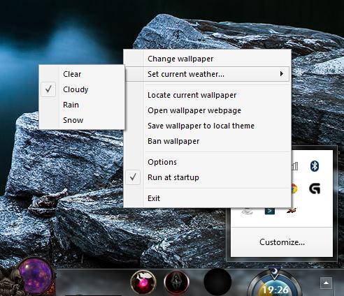 Screenshot: tray menu