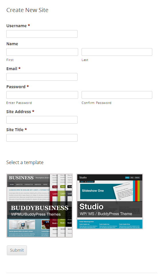 Finished Registration Page