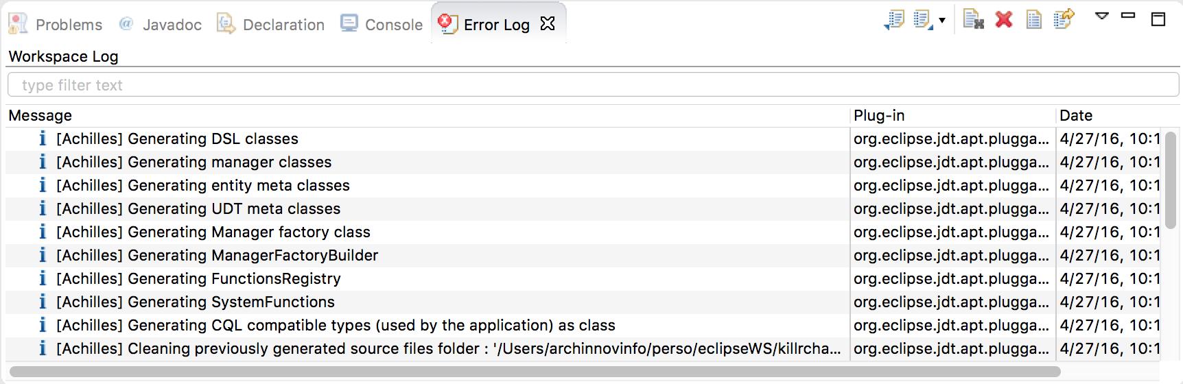 Eclipse Annotation Processor Output