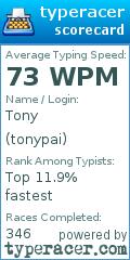 TypeRacer.com scorecard for user tonypai