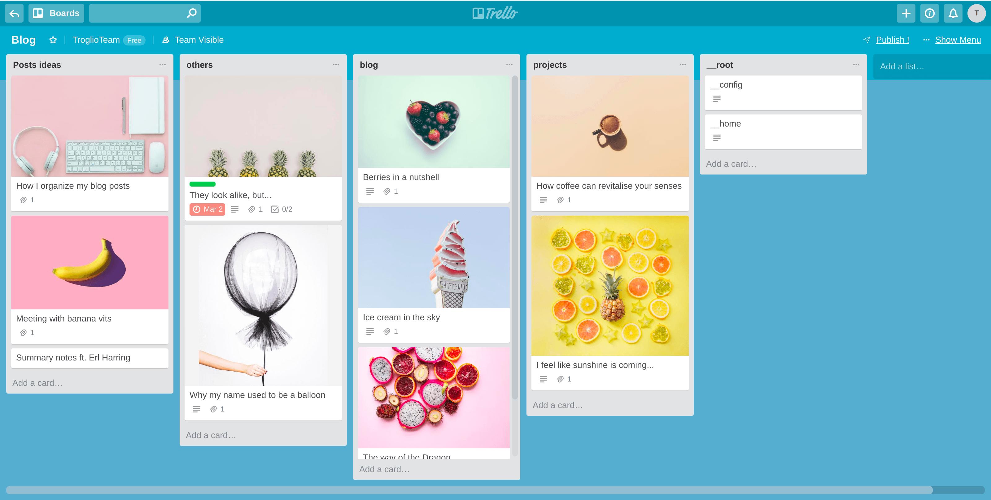 Trello Blog board example