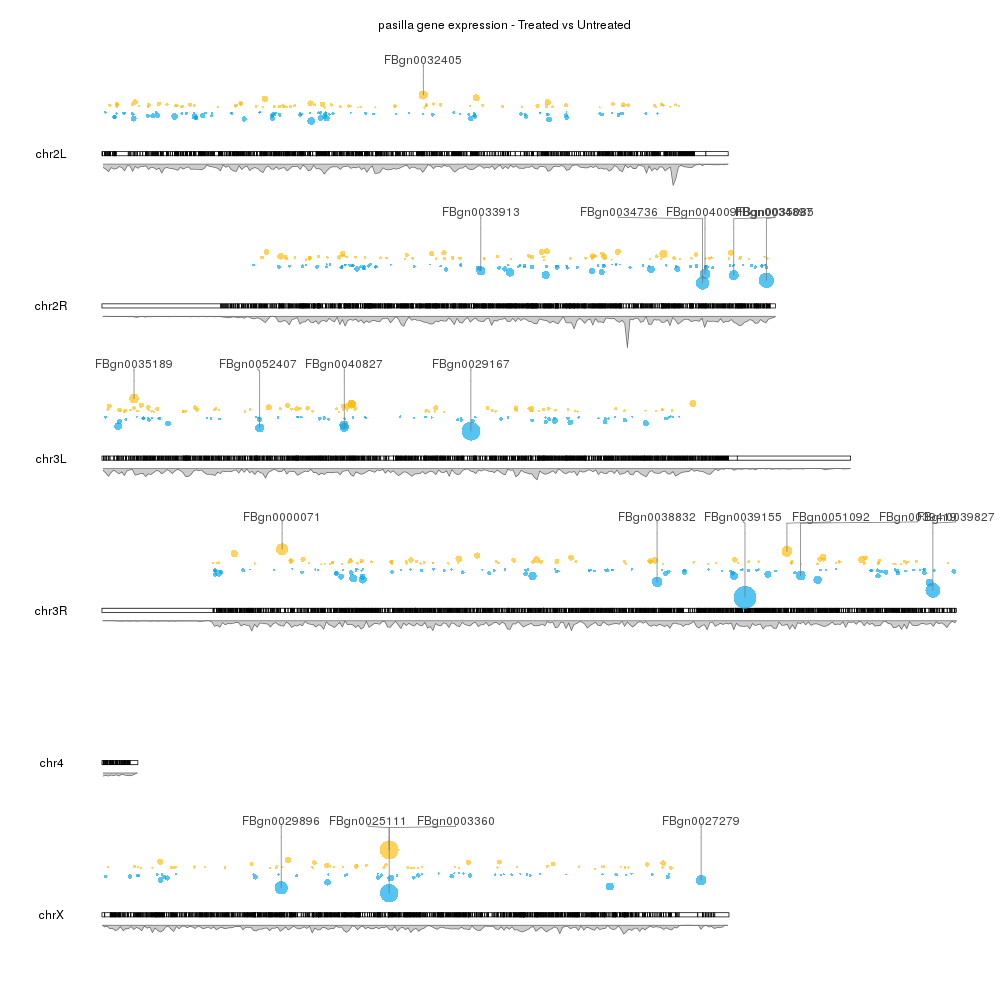 A karyoploteR example plotting differential expression results computed with RNA-seq data from Drosophila Melanogaster