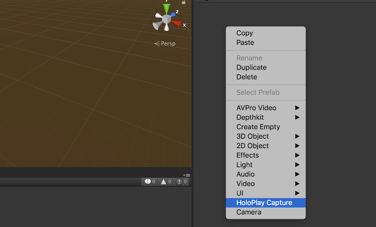Creating HoloPlay Capture from the right-click menu