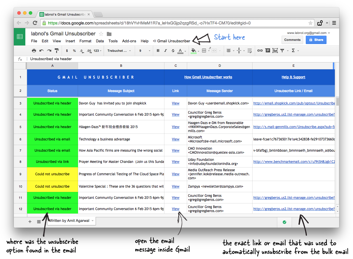 Google Sheet - Digest of Unsubscribed Emails