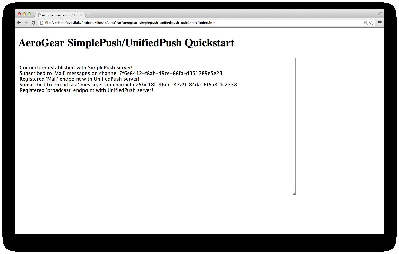 SimplePush/UnifiedPush main screen