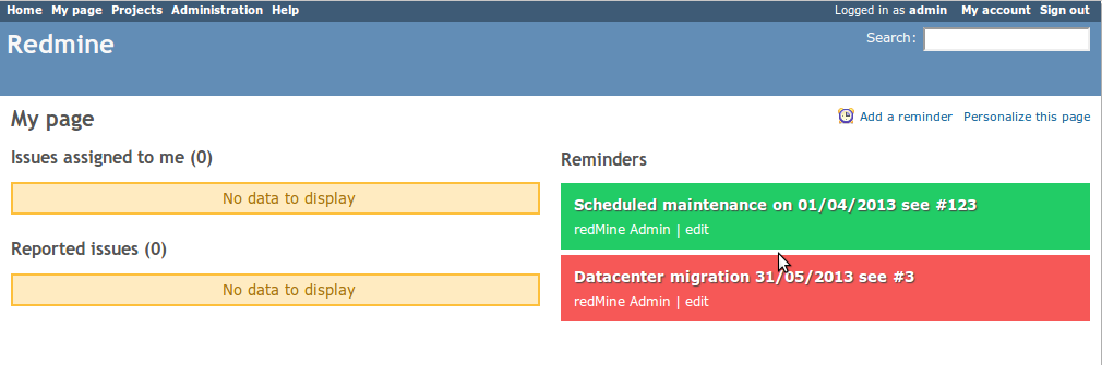 redmine_reminders screenshot