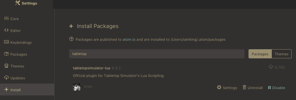 Screenshot of Atom Settings panel