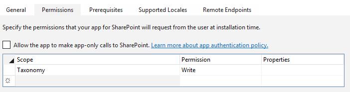 Screenshot of add-in permissions