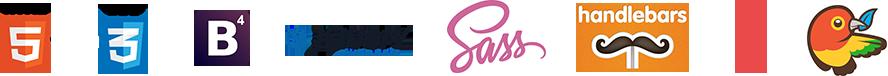 HTML5 jQuery Bootstrap4 SASS Handlebars Gulp Bower