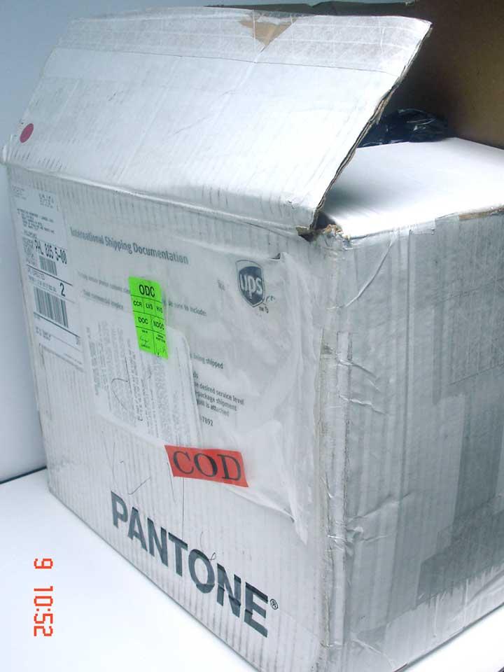 pantone big dent in box