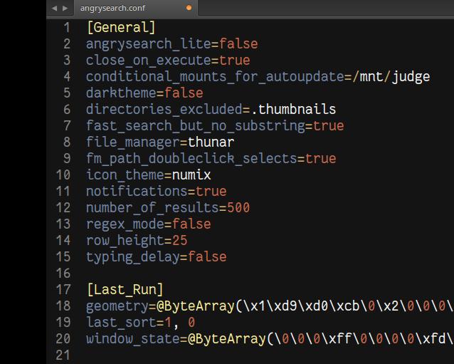 config file screenshot