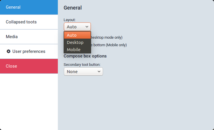 glitch.social App Settings configuration window, showing the 'General' tab with the 'Layout' dropdown expanded, showing 'Auto', 'Desktop', and 'Mobile'.