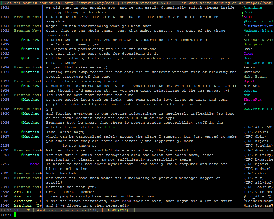 weechat ncurses cli screenshot