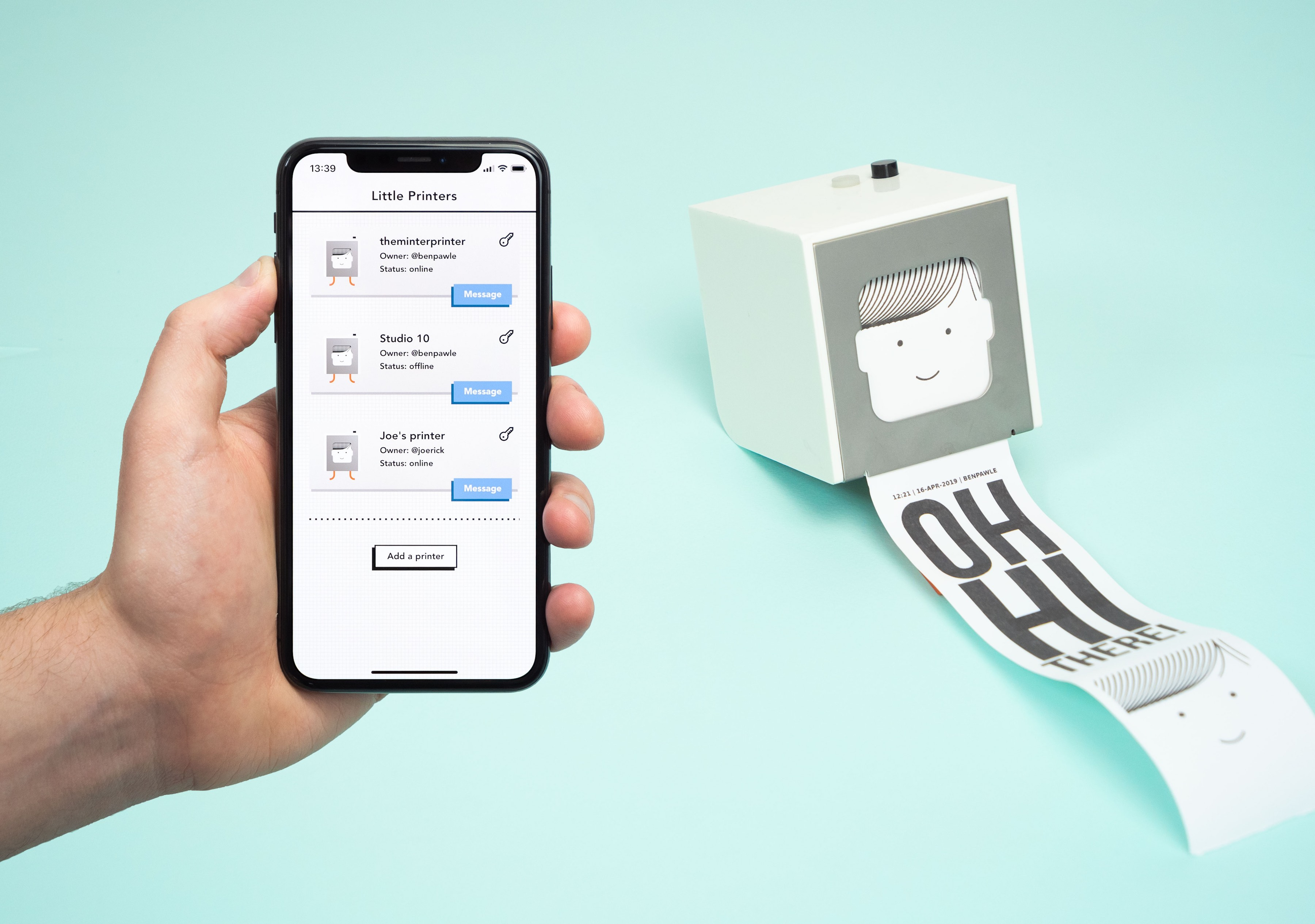 Little printer app with device