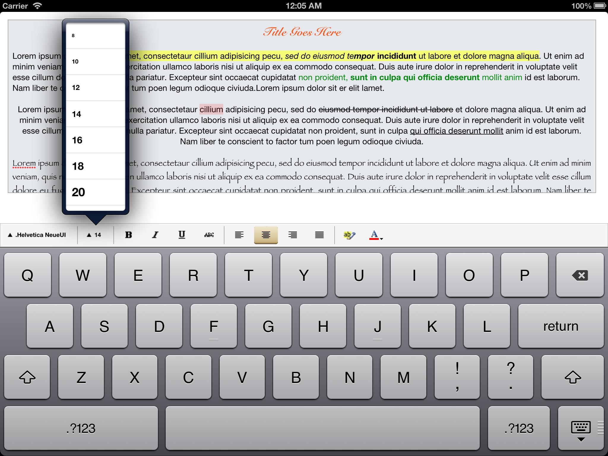 GitHub - aryaxt/iOS-Rich-Text-Editor: A Rich Text Editor for iOS