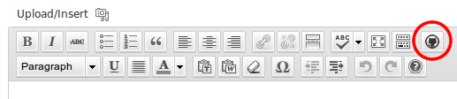 1. Shortcode button in TinyMCE.