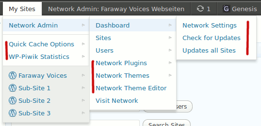 """Multisite Toolbar Additions: New Network specific menu items located in """"My Sites"""" toolbar parent item. (Click here for larger version of screenshot)."""