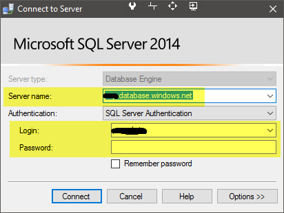 Connect to your SQL Azure database