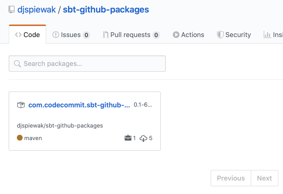 the packages page for sbt-github-packages, showing an example published artifact