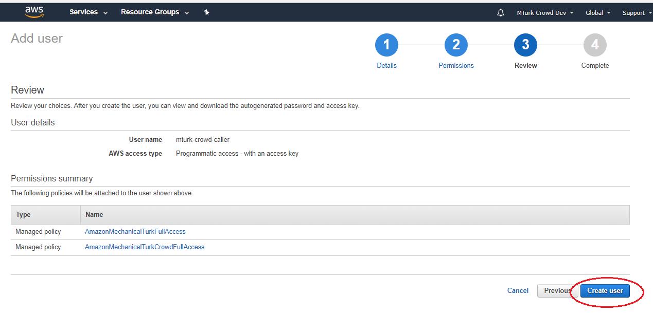 Select AmazonMechanicalTurkFullAccess and AmazonMechanicalTurkCrowdFullAcces
