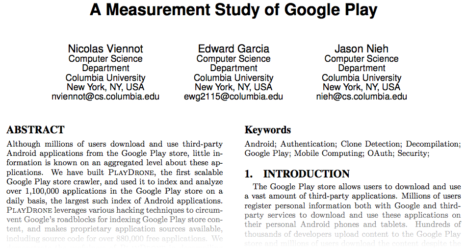 A Measurement Study of Google Play