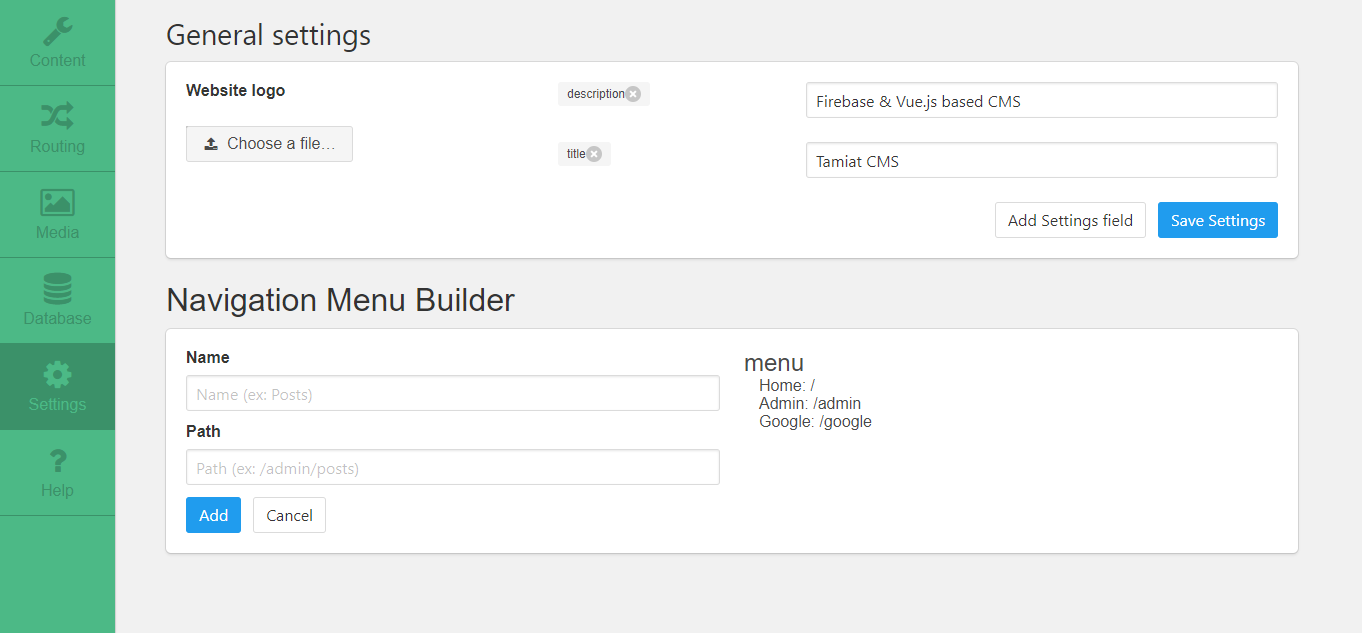 GitHub - tamiat/tamiat: Vuejs and Firebase based CMS