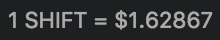 1 SHIFT = $1.62867